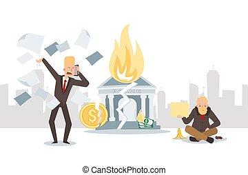faillite, gens, vecteur, illustration, crise, financier, business, chômage