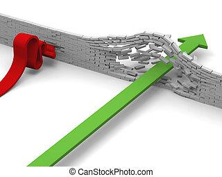 Concept of breakthrough versus failure illustrated by arrow breaking through brick wall versus arrow crashing into it.