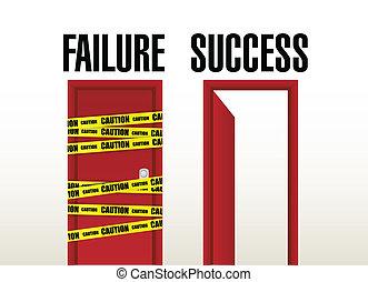 failure and success doors. illustration