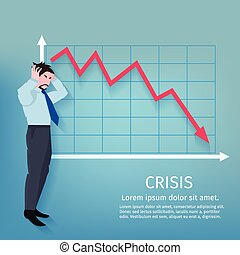 Frustrated businessman with descending finance chart crisis poster vector illustration