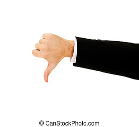 businessman's hand shows thumb down on a white background
