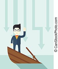Failure chinese businessman standing on a sinking boat.