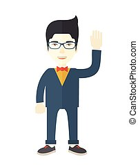 Failure chinese businessman standing waving his hand. - A...