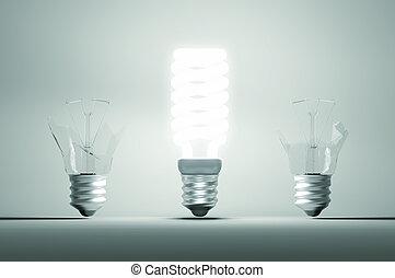 failure:, iluminado, dois, ones., idéia, grande, quebrada, bulbo, resolução, ou, erro