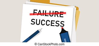 Failure is success in progress inspirational text. word marked on paper. Concept of business challenge.
