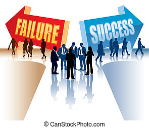 Failure or Success - Businesspeople are standing in front of...
