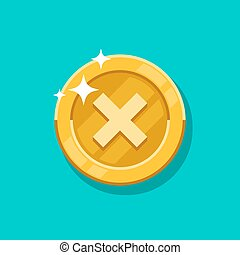 Failure sign gold coin vector icon. Flat cartoon golden metal money isolated on blue background.