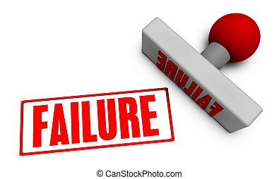 Failure Stamp or Chop on Paper Concept in 3d