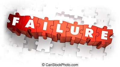Failure - Word on Red Puzzles. 3D Render.