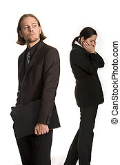 failure - young woman and man business communication meeting