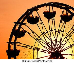 fair., coucher soleil, ferris, comté, roue, silhouette