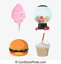 fair food snack carnival icon - cotton candy hamburger...
