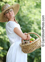 fair-haired belle with basket