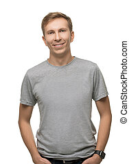 Fair handsome male in t-shirt isolated portrait