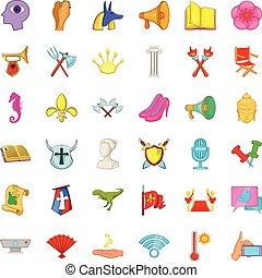 Fair icons set, cartoon style