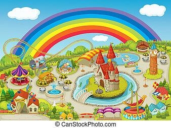 fair - illustration of a fair on beautiful rainbow...