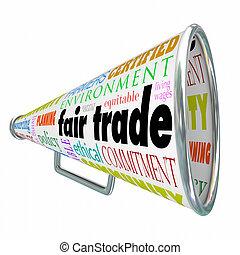 fair, ketting, levering, handel, environme, bullhorn, duurzaam, megafoon