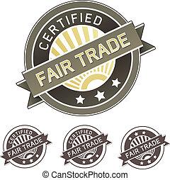fair, of, voedingsmiddelen, etiket, product, handel
