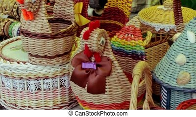 Fair of wicker baskets made of straw and willow in Russia
