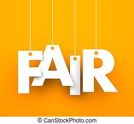 Fair - Orange background with hanging letters which make up...