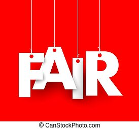 Fair - Red background with hanging letters which make up the...
