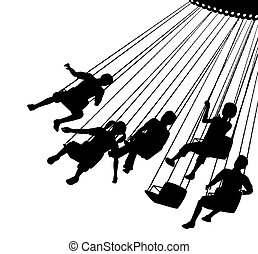 Editable vector silhouette of children on a fairground ride with each child as a separate object.