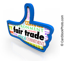 Fair Trade Blue Thumbs Up Words Responsible Business...