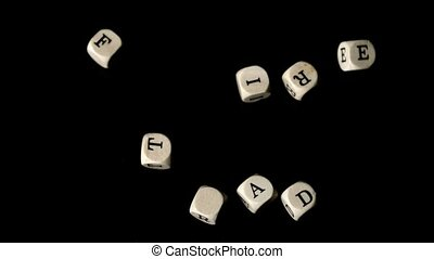 Fair trade dice falling together in slow motion