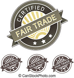 Fair trade food or product label - Certified fair trade good...