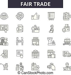 Fair trade line icons for web and mobile design. Editable ...