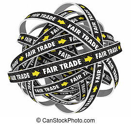Fair Trade No Taxes Tariffs Fees Road Words 3d Illustration