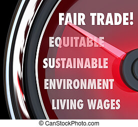 Fair Trade Speedometer Measuring Import Export Equity Products
