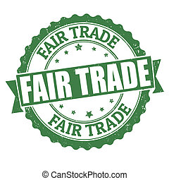 Fair trade stamp - Fair trade grunge rubber stamp on white,...