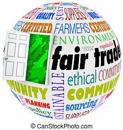 Fair Trade Words Globe International Business Policy Open Door