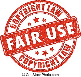 Fair use copyright rubber stamp isolated on white background