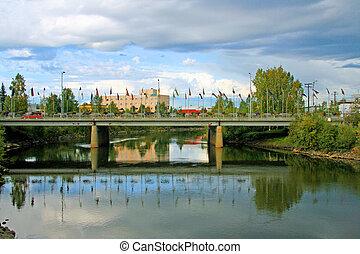 Bridge over river in Fairbanks, Alaska