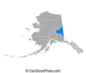 fairbanks, mapa de alaska, sudeste