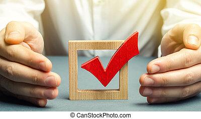 faire, étreintes, croissance affaires, homme, fraude, legitimacy, stratégie, tique, choix, success., droit, vote., rouges, soutien, election., concept, protection, contre, protège