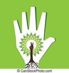 faire, arbre, main, paume, victoire, intérieur
