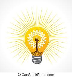 faire, arbre, main, portion, ampoule, intérieur