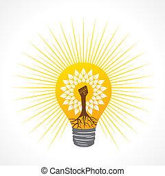 faire, arbre, main, unité, ampoule, intérieur