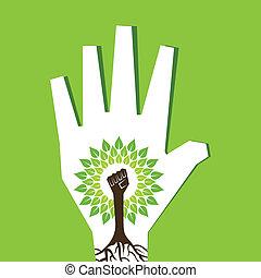faire, arbre, main, unité, paume, intérieur