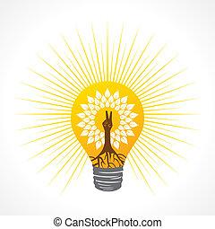faire, arbre, main, victoire, ampoule, intérieur