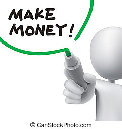 faire, argent, écrit, par, a, homme