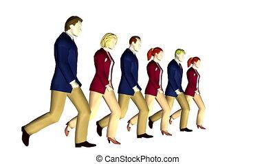 faire boucle, 6 personnes, business, marcher