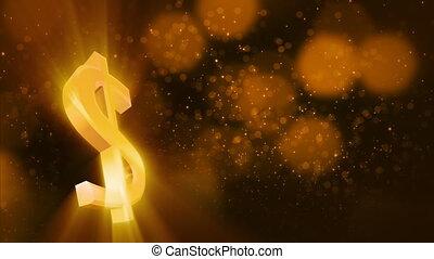 faire boucle, dollar, brillant, boucle, signe