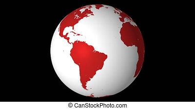faire boucle, solide, équateur, globe, canal, tourner, centré, 4k, alpha
