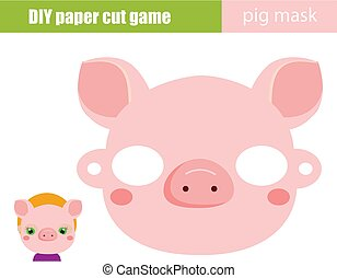 faire, cochon, papier, créatif, feuille, enfants, printable, fête, scissors., game., bricolage, animal, masque, pédagogique, gosses