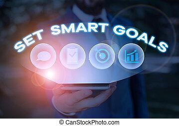 faire, concept, mot, ensemble, écriture, bon, texte, business, objectifs, goals., plans., establish, achievable, intelligent