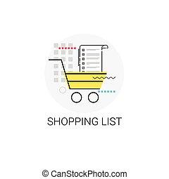 faire courses ligne, liste, charrette, icône